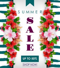 Summer sale background with tropical flowers. Up to 50%