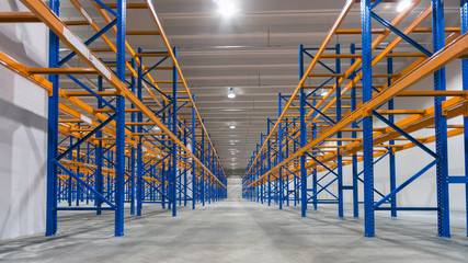 Empty shelves in distribution warehouse