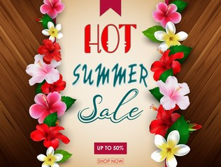 Hot summer sale banner template with tropical flowers. Up to 50%