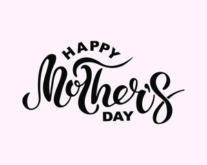 Happy Mother's Day text isolated on background. Hand drawn lettering Mother as Mother's day logo, badge, icon. Template for Happy Mother's day, invitation, greeting card, web, postcard.