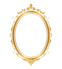 Oval frame and borders Golden frame, Thai pattern, vector illustration