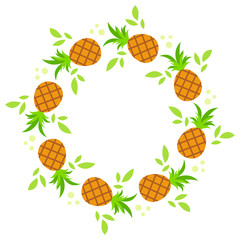 A round wreath of pineapple with green leaves. Simple flat vector illustration.