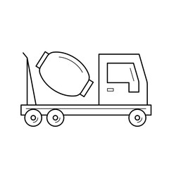 Concrete mixer vector line icon isolated on white background. Concrete mixer line icon for infographic, website or app. Icon designed on a grid system.