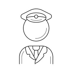 Traffic policeman vector line icon isolated on white background. Conductor line icon for infographic, website or app. Icon designed on a grid system.