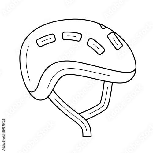 Bike Helmet Vector Line Icon Isolated On White Background Bike