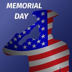 Memorial day design with saluting solder.