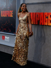 """Cast member Harris poses at the premiere for the movie """"Rampage"""" in Los Angeles"""