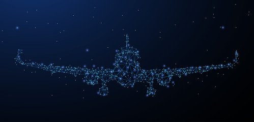 Airplane. Low poly wireframe mesh looks like constellation. Travel symbol. Illustration or background