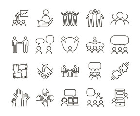 Vector thin line icon illustration set. Teamwork and people interacting, communicating and working together for business companies or other nonprofit organizations.