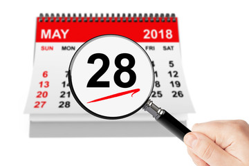 Memorial Day Concept. 28 may 2018 calendar with magnifier