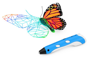 3d Printing Pen Print Abstract Wired Butterfly. 3d Rendering