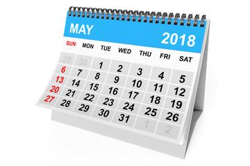 Calendar May 2018. 3d Rendering