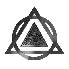 Masonic Symbol Concept. All Seeing Eye inside Pyramid Triangle. 3d Rendering