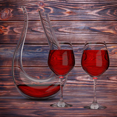 Glass Crystal Decanter with Red Wine and Two Wine Glasses. 3d Rendering