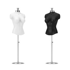 Black and White Vintage Tailor Women Mennequin. 3d Rendering