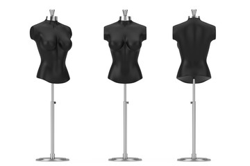 Black Vintage Tailor Women Mennequin. 3d Rendering