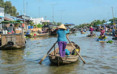 Wooden boats on Mekong River