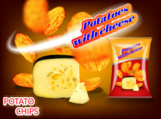 Potato chips with cheese pattern for your advertising packing.