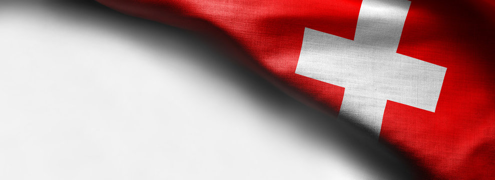 abstract fabric Switzerland flag on white background