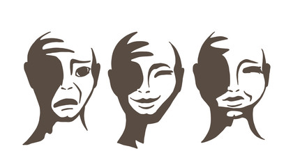The monochrome faces of people. The head of a man with emotions. Vector illustration.