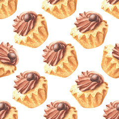 Hand drawn watercolor chocolate cupcake repeating pattern, colorful seamless background. Food dessert design.