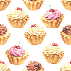 Hand drawn watercolor pink cherry, vanilla and chocolate cupcakes repeating pattern, colorful seamless background. Food dessert design.