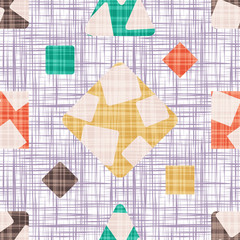 Seamless pattern background with rhombus, square, triangle and circle. The tracery design vector illustration.