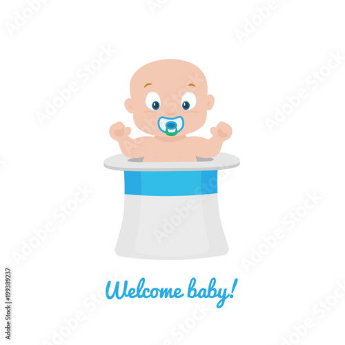 Welcome baby greeting card vector stock image and royalty free welcome baby greeting card vector m4hsunfo