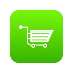 Sale shopping cart icon digital green