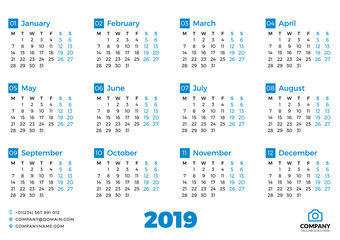 Simple calendar for 2019 year. Vector design print template. Week starts on Monday