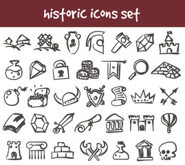 vector doodle historic icons set
