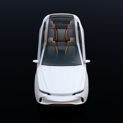 Front view of interior composed Electric SUV car on black background. Front seats turned to backward. 3D rendering image.