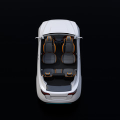 Rear view of cutaway white self-driving Electric SUV car on black background. Front seats turned to backward. 3D rendering image.