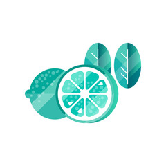 Trendy textured icon of lime or lemon and two leaves with gradient colors. Citrus fruit. Natural and healthy food. Abstract flat vector