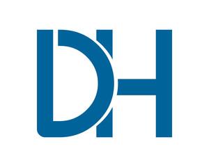 blue DH initial typography typeface typeset logotype alphabet image vector icon