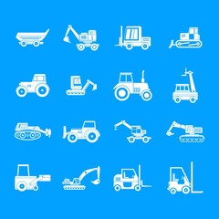 Construction vehicle icon blue set vector