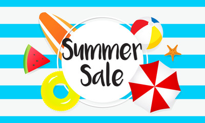 Summer sale banner vector illustration. Pool toys, yellow rubber ring and beach umbrella on blue stripes background.