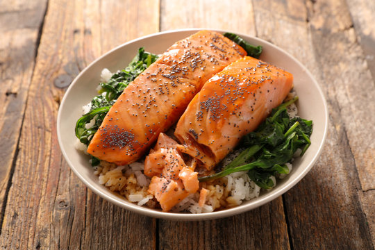 salmon, rice and vegetable