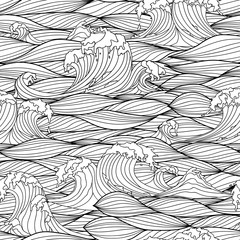 Seamless Pattern with Hand Drawn Stylized Sea Waves. Vector Illustration.