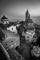 Bergamo medieval town - black and white image