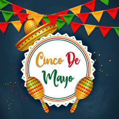 Cinco De Mayo vector design with sombrero.