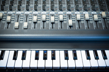 piano keys & sound mixer
