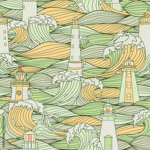 Lighthouse Among The Storm Waves Graphic Vector Seamless Pattern Coloring Book Page Design For
