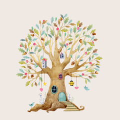 Watercolor vector tree house