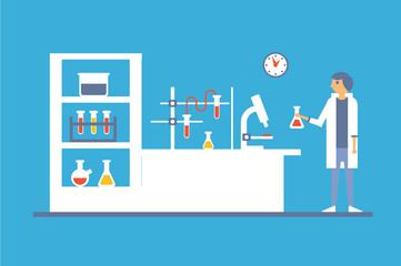 Medical lab interior, blood laboratory research vector illustration