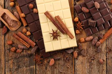 chocolate bar, coffee bean and spice