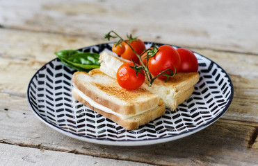 HOT TOAST WITH YELLOW CHEESE AND FRESH TOMATOES ON  THE PLATE ON THE WOODEN TABLE