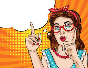 Vector retro illustration pop art comic style of a pretty woman in eyeglasses  pointing finger up. Vintage poster of a girl showing something.