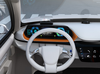 Front view of digital speedometer with HUD on wooden tray. Electric car's dashboard concept. 3D rendering image.