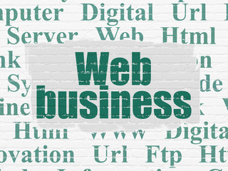 Web development concept: Painted green text Web Business on White Brick wall background with  Tag Cloud